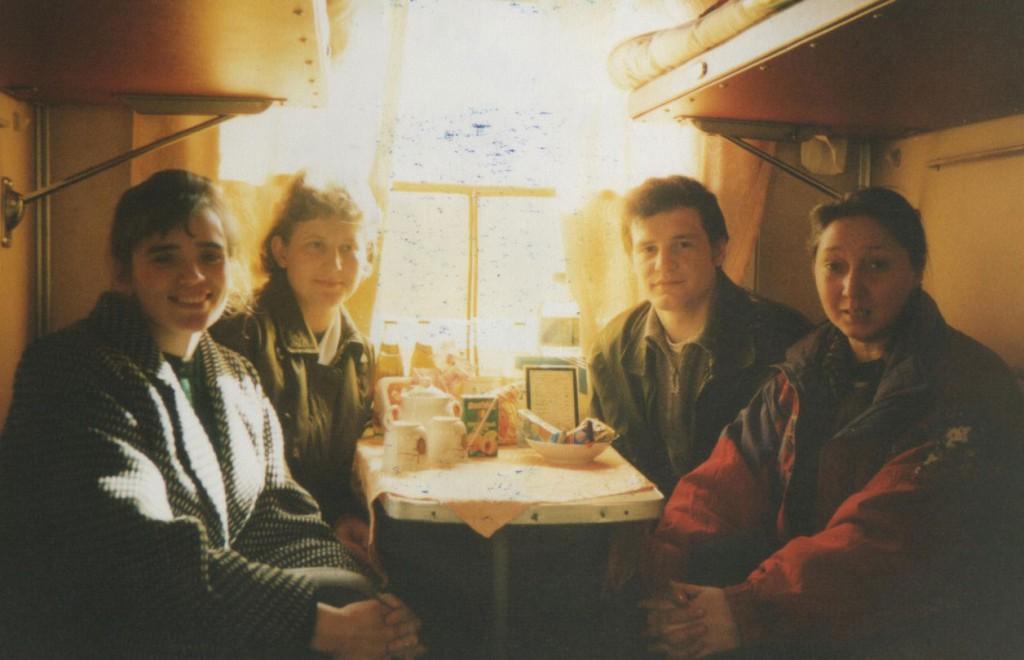 Группа из церкви едет в Омск на семинар по работе в детских христианских лагерях. Слева направо: Лида Корень, Оля Потапова, Олег Синяков, Люда Борисова
